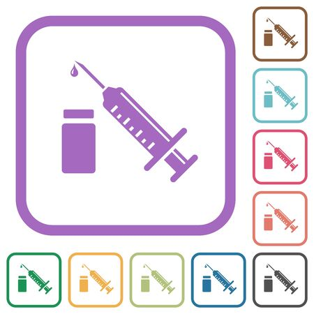 Syringe with ampoule simple icons in color rounded square frames on white background
