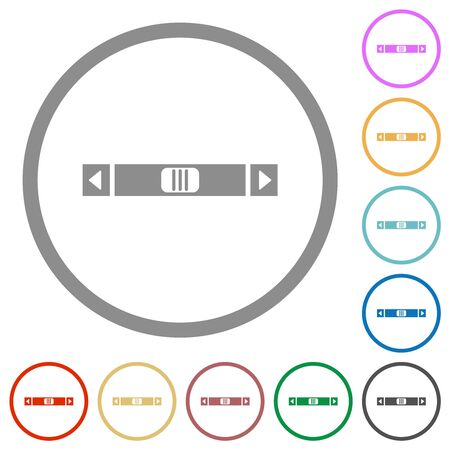 Horizontal scroll bar flat color icons in round outlines on white background