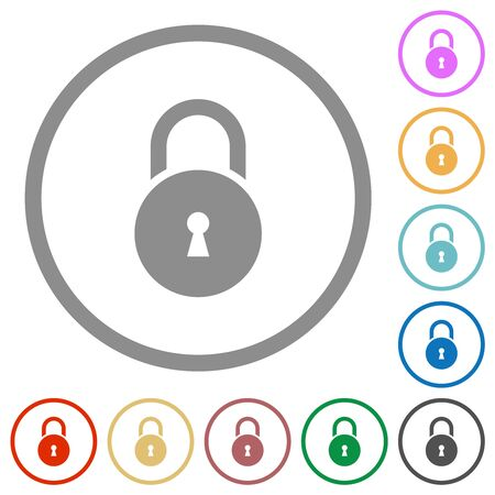 Locked round padlock with keyhole flat color icons in round outlines on white background