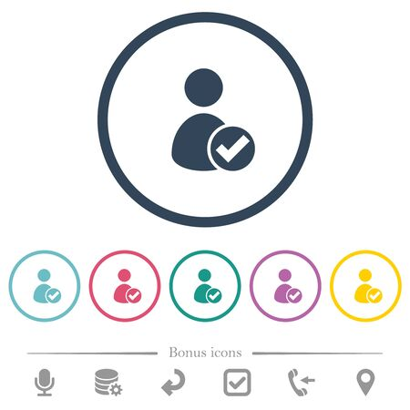 User account accepted flat color icons in round outlines. 6 bonus icons included. 向量圖像