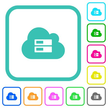 Cloud storage vivid colored flat icons in curved borders on white background