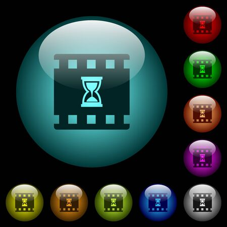 Movie processing icons in color illuminated spherical glass buttons on black background. Can be used to black or dark templates
