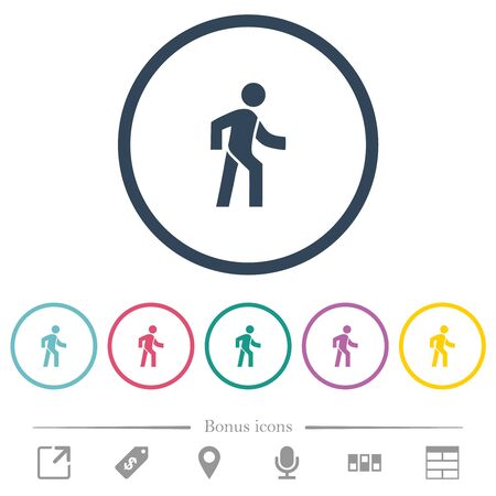 Man walking right flat color icons in round outlines. 6 bonus icons included. Illustration