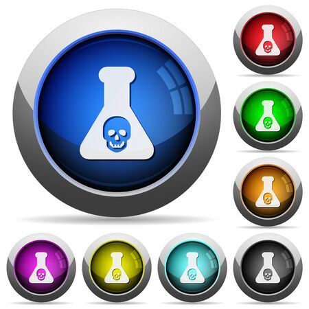 Dangerous chemical experiment icons in round glossy buttons with steel frames in several colors