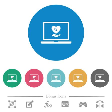 Online Dating on laptop flat white icons on round color backgrounds. 6 bonus icons included.