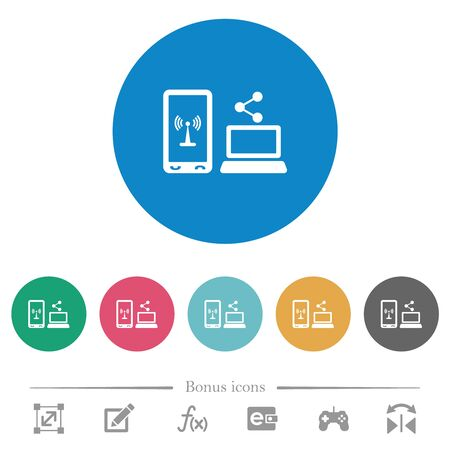 Share mobile internet flat white icons on round color backgrounds. 6 bonus icons included.