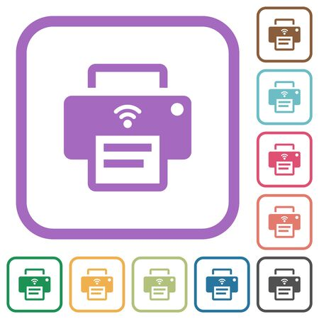 Wireless printer simple icons in color rounded square frames on white background