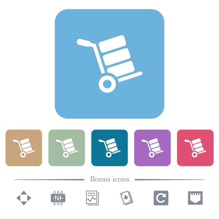 Hand truck with boxes white flat icons on color rounded square backgrounds. 6 bonus icons included