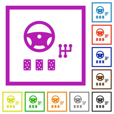 Car controls flat color icons in square frames on white background