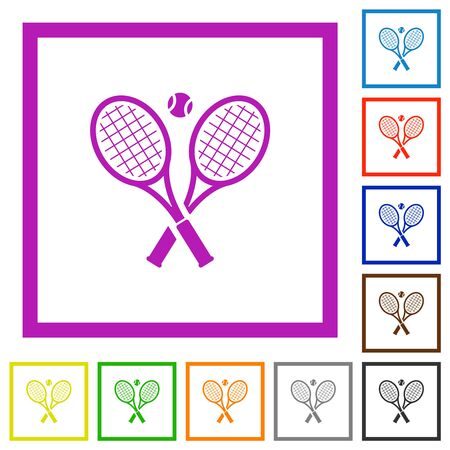 Tennis rackets with ball flat color icons in square frames on white background