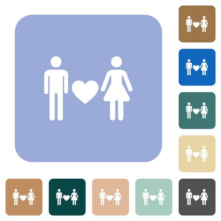 Dating white flat icons on color rounded square backgrounds