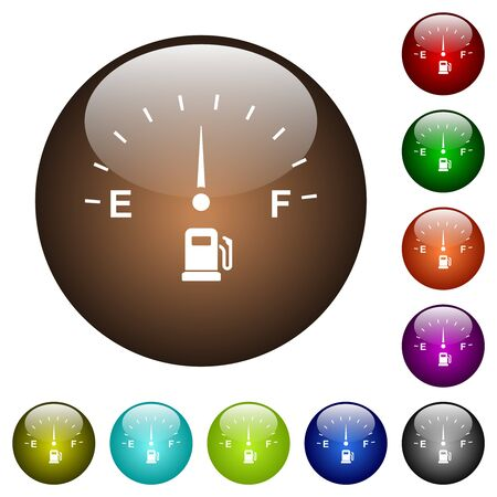 Fuel indicator white icons on round glass buttons in multiple colors