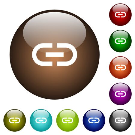 Insert link white icons on round glass buttons in multiple colors