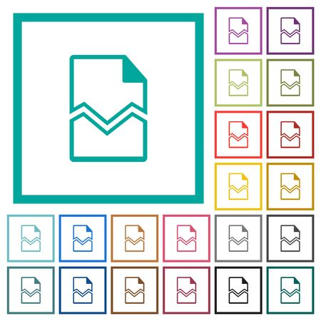 Broken page flat color icons with quadrant frames on white background