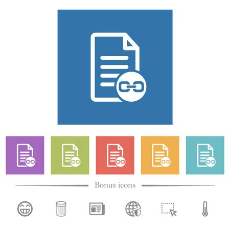 Document attachment flat white icons in square backgrounds. 6 bonus icons included.