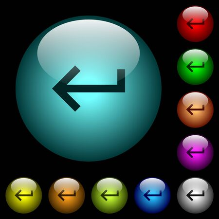 Keyboard return icons in color illuminated spherical glass buttons on black background. Can be used to black or dark templates