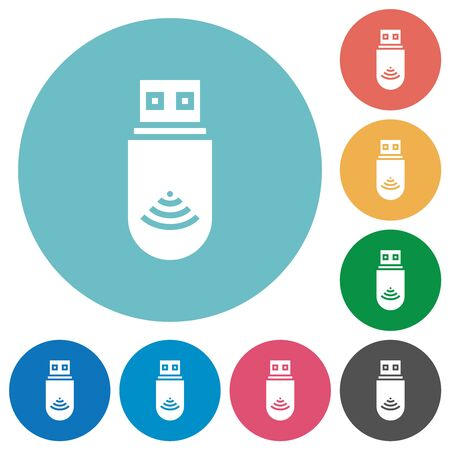 USB wifi dongle flat white icons on round color backgrounds