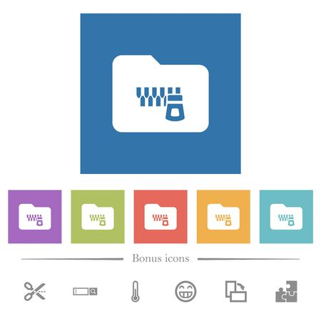 Zipped folder flat white icons in square backgrounds. 6 bonus icons included.