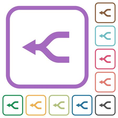 Merge arrows left simple icons in color rounded square frames on white background