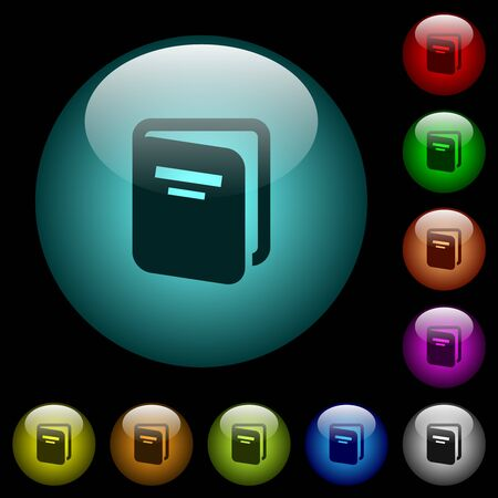 Album icons in color illuminated spherical glass buttons on black background. Can be used to black or dark templates