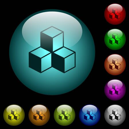 Cubes icons in color illuminated spherical glass buttons on black background. Can be used to black or dark templates