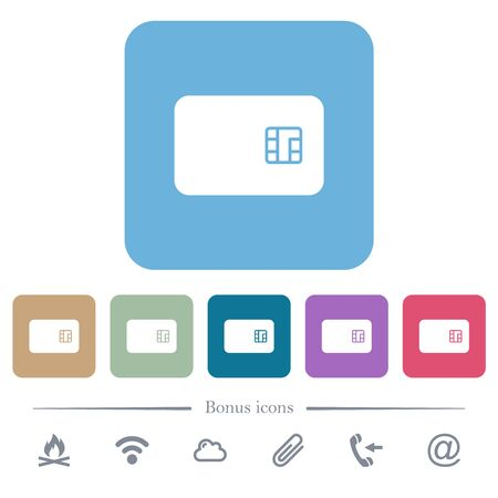 Chip card white flat icons on color rounded square backgrounds. 6 bonus icons included Vecteurs
