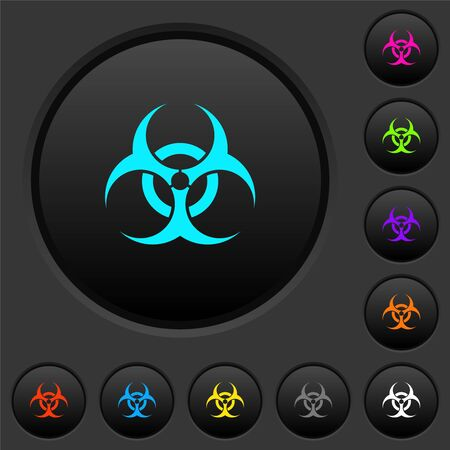 Biohazard sign dark push buttons with vivid color icons on dark grey background