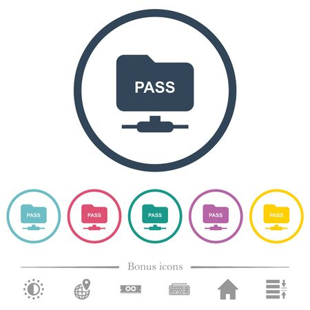 ftp authentication password flat color icons in round outlines. 6 bonus icons included.