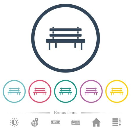 Park bench flat color icons in round outlines. 6 bonus icons included.