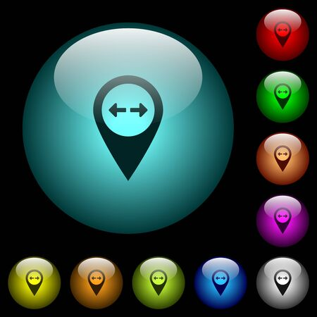 GPS map location distance icons in color illuminated spherical glass buttons on black background. Can be used to black or dark templates