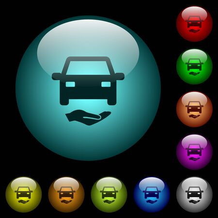 Car insurance icons in color illuminated spherical glass buttons on black background.