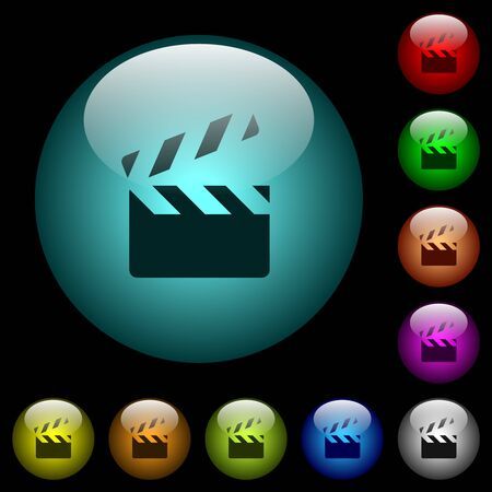 Clapperboard icons in color illuminated spherical glass buttons on black background. Vectores