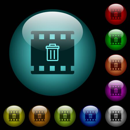 Delete movie icons in color illuminated spherical glass buttons on black background. Can be used to black or dark templates