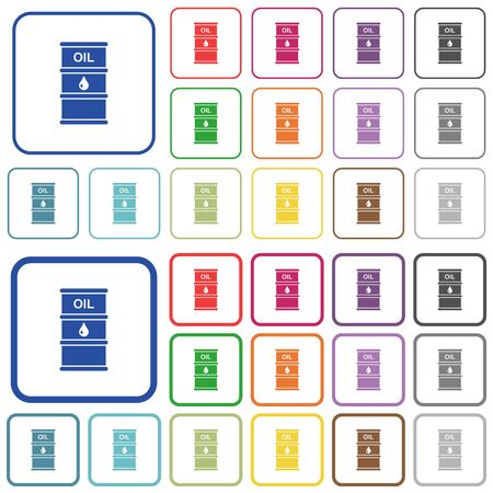 Oil barrel color flat icons in rounded square frames. Thin and thick versions included.