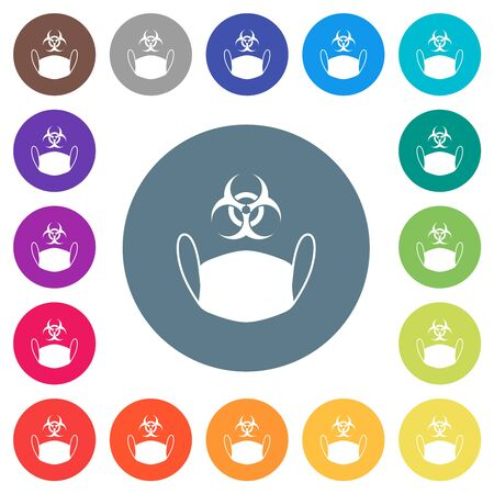 Face mask and biohazard symbol flat white icons on round color backgrounds. 17 background color variations are included.