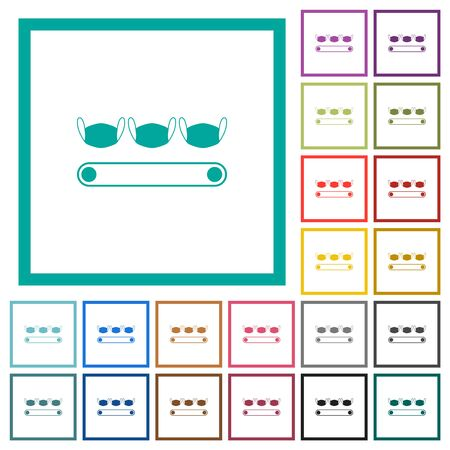 Mask manufacturing flat color icons with quadrant frames on white background