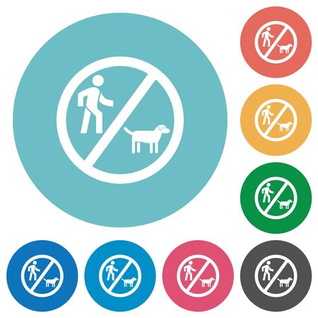 No dog walking flat white icons on round color backgrounds