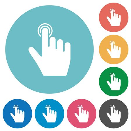 right handed clicking gesture flat white icons on round color backgrounds Çizim