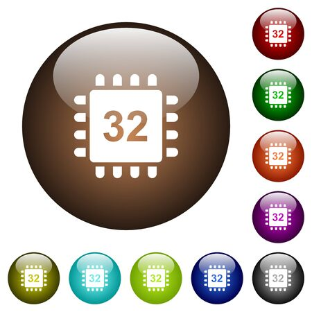 Microprocessor 32 bit architecture white icons on round glass buttons in multiple colors Çizim