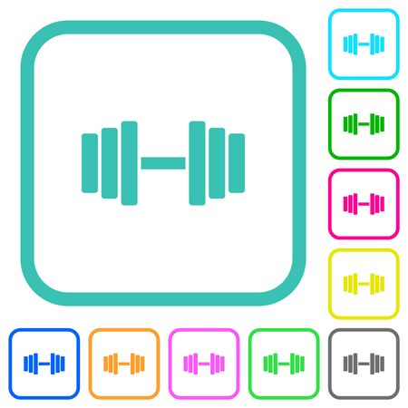 Gym vivid colored flat icons in curved borders on white background Çizim