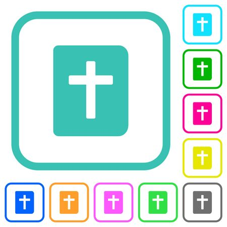 Holy bible vivid colored flat icons in curved borders on white background