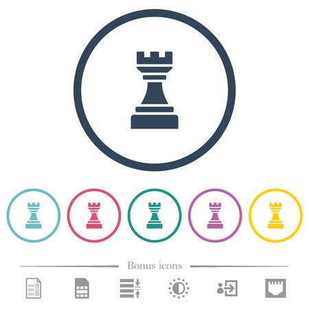 Black chess rook flat color icons in round outlines. 6 bonus icons included.
