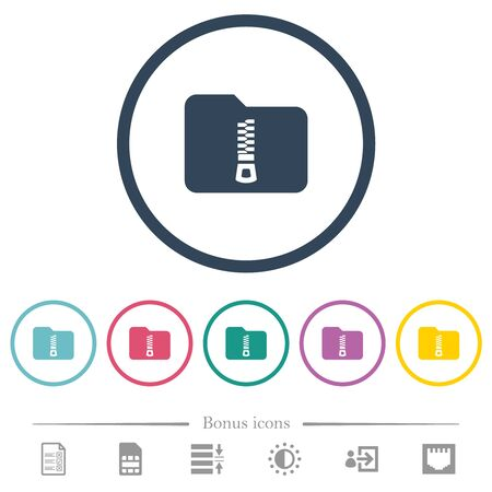 Compressed folder flat color icons in round outlines. 6 bonus icons included. Çizim
