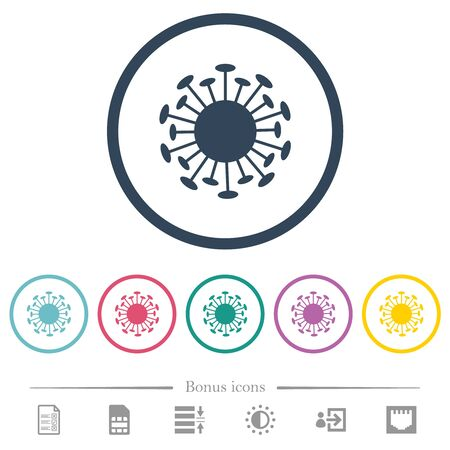 Corona virus flat color icons in round outlines. 6 bonus icons included. Çizim