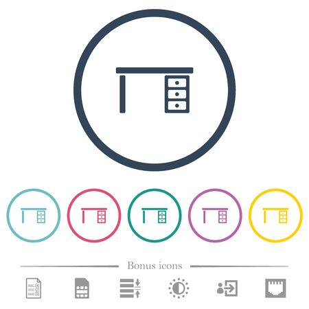 Drawer desk flat color icons in round outlines. 6 bonus icons included.