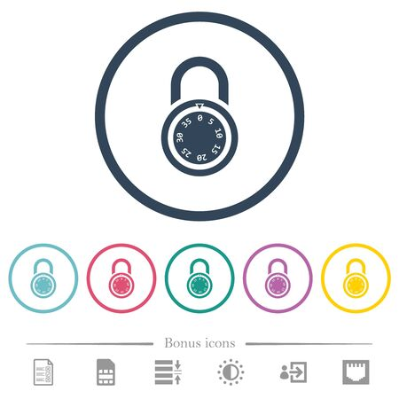 Locked round combination lock flat color icons in round outlines. 6 bonus icons included. Çizim