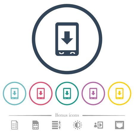 Mobile scroll down flat color icons in round outlines. 6 bonus icons included. Çizim
