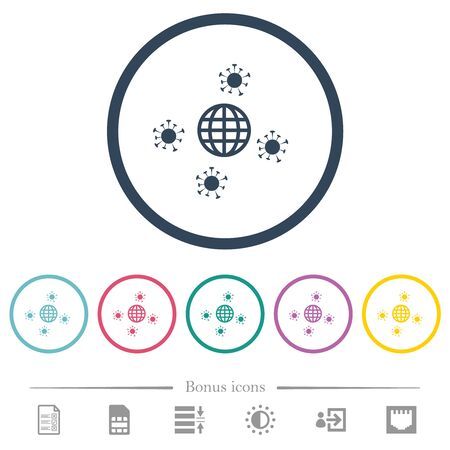 Pandemic flat color icons in round outlines. 6 bonus icons included. Çizim