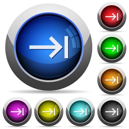 Keyboard tab icons in round glossy buttons with steel frames in several colors