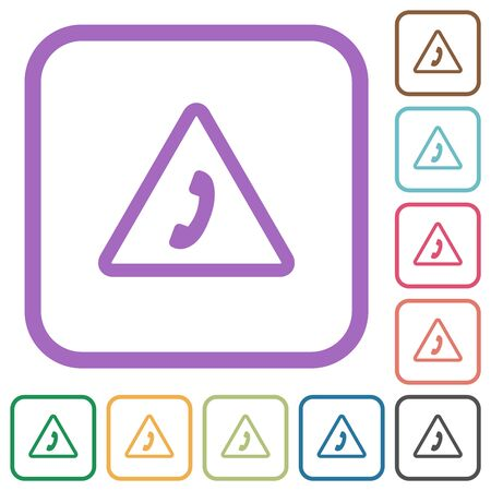 Emergency call simple icons in color rounded square frames on white background